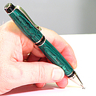 Handmade Malachite Trustone Pen with Platinum Accents