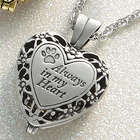Always in My Heart Locket with Pawprint Accent