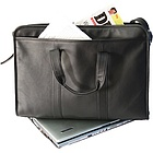"Soft-Sided 17"" Leather Laptop Briefcase"