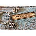 Personalized Hand Stamped Wine Grapes Keychain