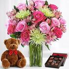 Deluxe All the Frills Bouquet with Bear and Chocolates