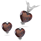 Heart Shape Garnet Set in 14K White Gold
