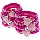 Pink Paracord Bracelet with Heart Charms