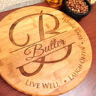 Live Well Monogrammed Initial Bamboo Cutting Board