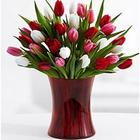 30 Sweetheart Tulips with Ruby Gathering Vase & Chocolates