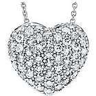 Sterling Silver White Pave Crystal Heart Pendant