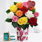12 Long-Stemmed Valentine's Roses with Vase, Love Pick & Spa Set