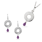 2.03 Cts Amethyst Jewelry Set in Silver