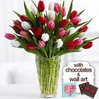 Sweetheart Tulips with Chocolates & Wall Art