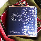 Personalized Blue Snowflakes Christmas Flask