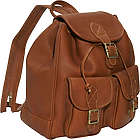 Leather Double Front Pocket Backpack