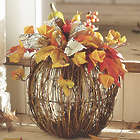 Rattan Pumpkin with Faux Florals