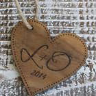 Engraved Monogram Wooden Heart Christmas Ornament
