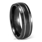 Double Grooved 7mm Black Titanium Ring