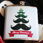 Personalized Mustache Tree Christmas Flask