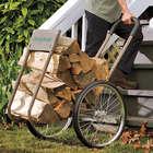 Heavy-Duty Steel Rolling Wood Caddy with Large Wheels