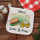 Grillin' and Chillin' Personalized BBQ Potholder