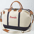 Luxurious Weekender Embroidered Name Canvas Duffel Bag