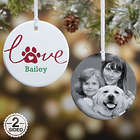 Love Has 4 Paws Personalized Dog Photo Ornament