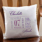 Baby Girl's Big Day Personalized Pillow