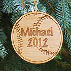 Personalized Wooden Baseball Christmas Ornament