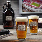 Personalized Royal Crested Custom Glass Growler with Beer Glasses