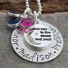 Personalized Sterling Silver Love You to the Moon & Back Necklace