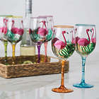 Handpainted Flamingo Wine Glasses