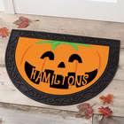 Happy Jack O'Lantern Personalized Half Round Doormat