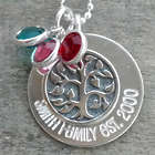 Personalized Sterling Silver Family Tree and Birthstones Necklace