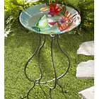 Glass Hummingbird Birdbath with Stand