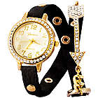 Arrow Studded CZ Black and Gold Wrap Watch