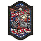 Live Free Ride Hard Light Up Motorcycle Stained Glass Wall Decor