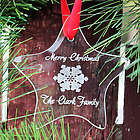 Glass Star Personalized Christmas Ornament with Snowflake