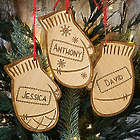 Engraved Family Winter Mittens Wood Ornament