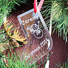 Glass Stocking Personalized Christmas Ornament with Snowman