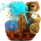 Ultra-Cuddly Bear and Blanket New Baby Gift Basket