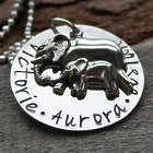 Personalized Mom and Baby Elephant Necklace