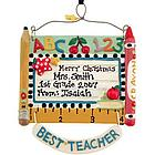 Personalized Best Teacher Resin Christmas Ornament