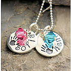 Petite Handprints Hand Stamped Necklace