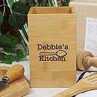 Engraved Kitchen Bamboo Utensil Holder