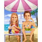 Life's A Beach Couples Caricature Print