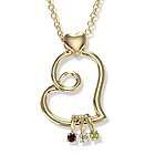 Birthstone Family Bond Charm Necklace in 14k Gold