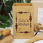 Engraved Vineyard Bamboo Utensil Holder