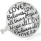Love Believes Oxidized Sterling Silver Message Ring
