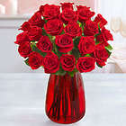 2 Dozen Charming Red Roses in Red Vase
