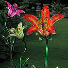Solar Tiger Lily Garden Stake