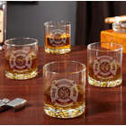 4 Fire and Rescue Engraved Buckman Whiskey Glasses
