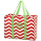 Personalized Red Chevron Stripes Tote Bag