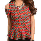 Red Mocha Trendy Cold Shoulder Chevron Print Peplum Top